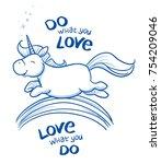 cute cartoon unicorn jumping... | Shutterstock .eps vector #754209046