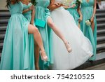 bridesmaids legs. dressed in... | Shutterstock . vector #754210525