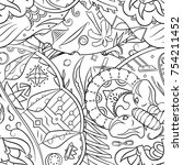 seamless mehndi vector pattern. ...   Shutterstock .eps vector #754211452