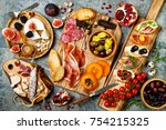 appetizers table with italian... | Shutterstock . vector #754215325