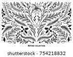 hand sketched vector winter set ... | Shutterstock .eps vector #754218832