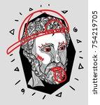 modern classical sculpture. t... | Shutterstock .eps vector #754219705
