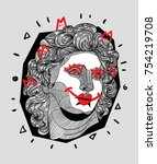 modern sculpture. t shirt... | Shutterstock .eps vector #754219708