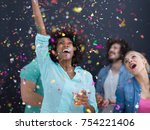 confetti party multiethnics... | Shutterstock . vector #754221406