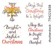 merry christmas wishes. holiday ... | Shutterstock .eps vector #754221838