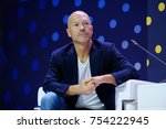 Small photo of Skolokovo, Russia - October 16, 2017: Russian celebrity Fyodor Bondarchuk speaking at Open Innovations 2017 forum