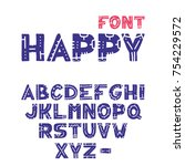 vector hand drawn alphabet with ... | Shutterstock .eps vector #754229572