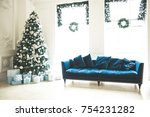 christmas living room with a... | Shutterstock . vector #754231282