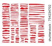 red vector brush strokes of... | Shutterstock .eps vector #754234702