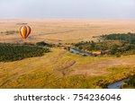 early morning flight of hot... | Shutterstock . vector #754236046