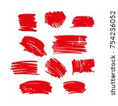 red vector brush strokes of... | Shutterstock .eps vector #754236052