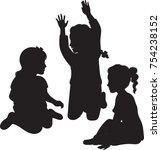 little girl silhouettes  vector ...