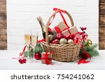 Christmas Basket With Champagn...