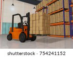 a forklift with a pallet full... | Shutterstock . vector #754241152