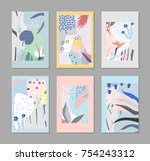 set of creative trendy cards.... | Shutterstock .eps vector #754243312