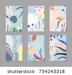 set of creative trendy cards.... | Shutterstock .eps vector #754243318