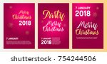 merry christmas party... | Shutterstock .eps vector #754244506