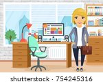 a young girl in the workplace.... | Shutterstock .eps vector #754245316