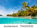 stunning tropical island with... | Shutterstock . vector #754245532