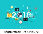 infographic banner  2018   year ... | Shutterstock .eps vector #754246072