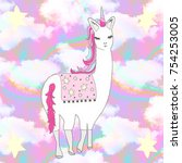 llama corn illustration on... | Shutterstock . vector #754253005