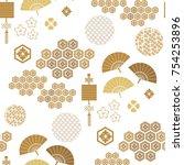 beautiful japanese seamless ...   Shutterstock .eps vector #754253896