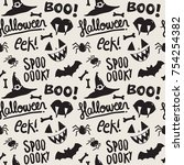seamless pattern with halloween ... | Shutterstock .eps vector #754254382