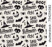 seamless pattern with halloween ...   Shutterstock .eps vector #754254382