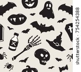 seamless pattern with halloween ... | Shutterstock .eps vector #754254388