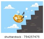 bitcoin falls down the stairs.... | Shutterstock .eps vector #754257475