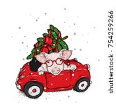 pig in the car with a christmas ... | Shutterstock .eps vector #754259266
