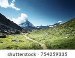 ground way to matterhorn peak ... | Shutterstock . vector #754259335