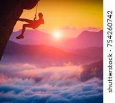 Silhouette Climber Girl A Cliff - Fine Art prints