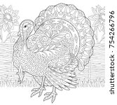coloring page of turkey and...   Shutterstock .eps vector #754266796