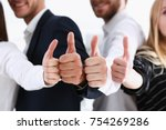 group of people show ok or... | Shutterstock . vector #754269286