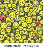 emoticon seamless pattern... | Shutterstock .eps vector #754269418