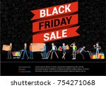 black friday crazy sale poster... | Shutterstock .eps vector #754271068
