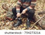 cheerful old man enjoying walk...   Shutterstock . vector #754273216