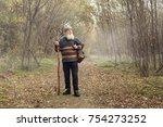 cheerful old man enjoying walk...   Shutterstock . vector #754273252