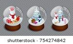 isometric set of merry... | Shutterstock .eps vector #754274842