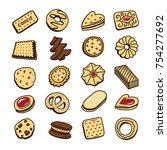 hand drawn set of cookies... | Shutterstock .eps vector #754277692