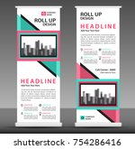 blue pink roll up banner... | Shutterstock .eps vector #754286416
