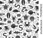 seafood and fish icons seamless ... | Shutterstock .eps vector #754289632