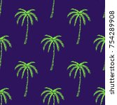 palm tree pattern seamless... | Shutterstock .eps vector #754289908