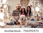 merry christmas and happy new... | Shutterstock . vector #754292572
