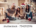 merry christmas and happy new... | Shutterstock . vector #754292596