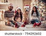 merry christmas and happy new... | Shutterstock . vector #754292602