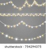 christmas lights isolated on... | Shutterstock .eps vector #754294375