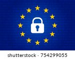 gdpr   general data protection... | Shutterstock .eps vector #754299055