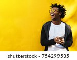 portrait of handsome afro man... | Shutterstock . vector #754299535